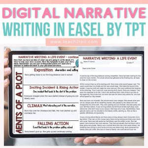 digital narrative writing in easel by tpt