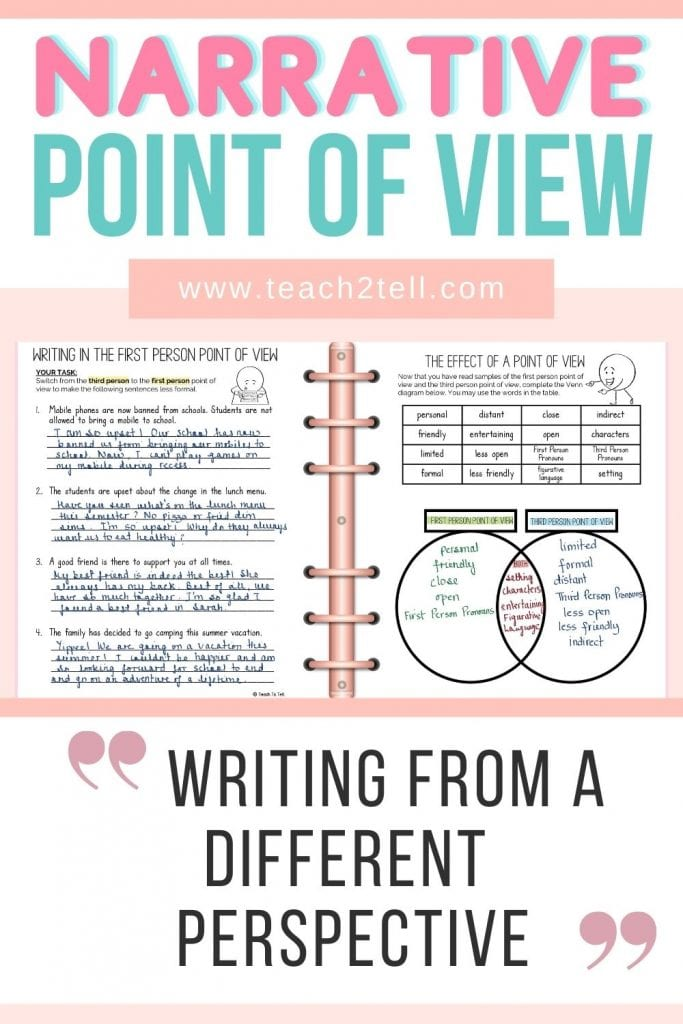 Now that students have a clear idea of the different narrative points of view together with the use of specific pronouns, it's time for them to practice writing from each narrative point of view.