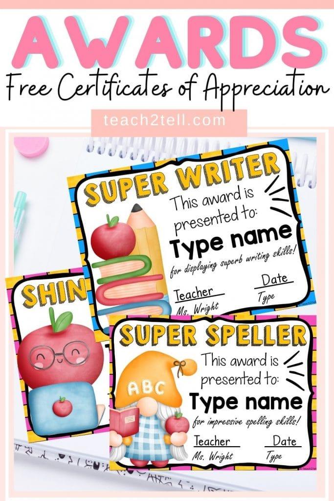 Certificates of Appreciation Freebie