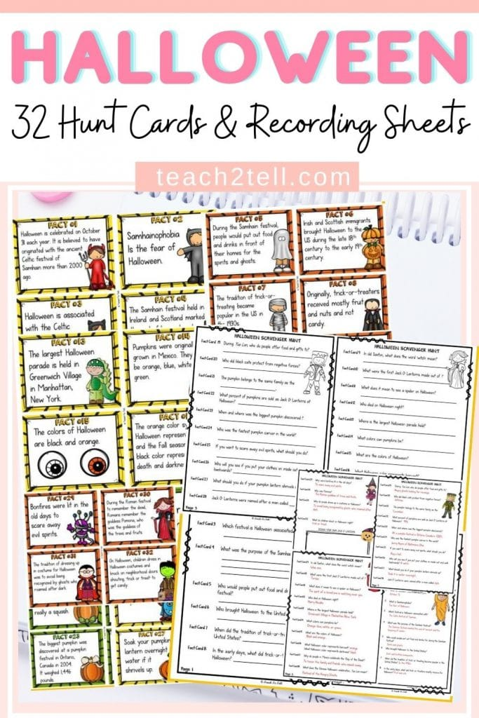 Halloween Activity Scavenger Hunt for Facts